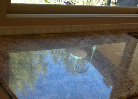 reflection in polished granite counter