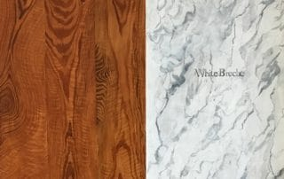 Faux Wall Treatments: Faux Wood Slab and Faux White Breccia Marble