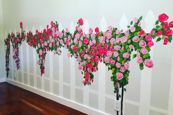 Picket Fence Rose Mural